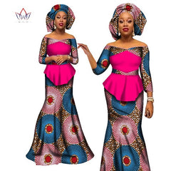African women two piece v-neck print Skirt set african clothing plus size women cotton clothing-0wqa78