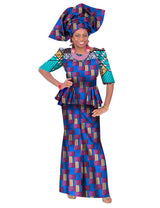 2018 Summer lace skirt set african designed clothing traditional bazin print Bazin Riche plus size skirt set plus size WY2683