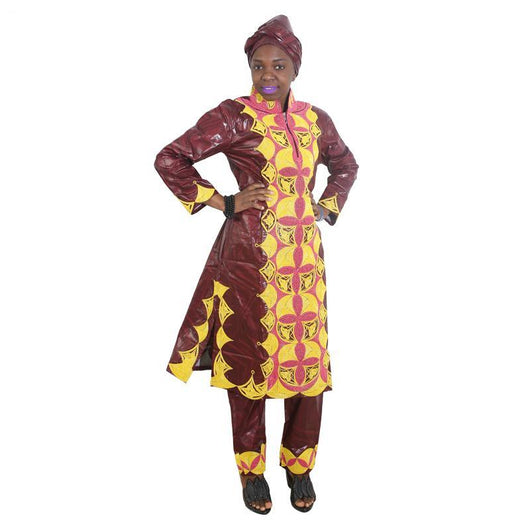 African women dress traditional woman suits outfit high quality embroidery lady tops with pants scarf 3 pcs