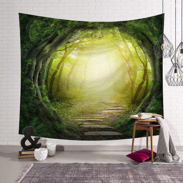 Landscape Black Tapestries Green Leaves Wall Hanging Meditation Home ...