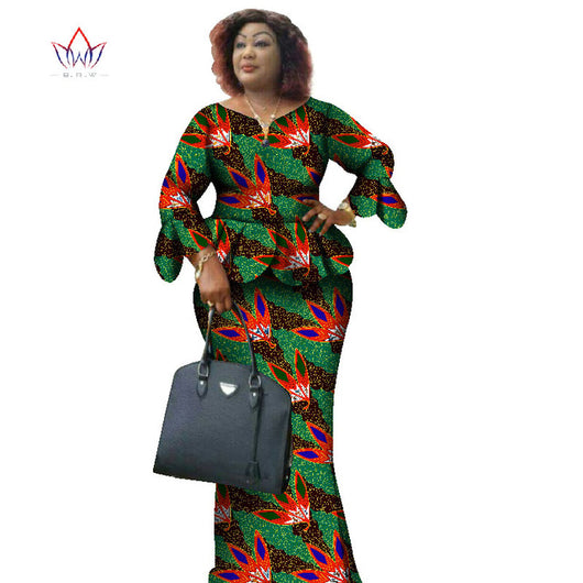 Two Piece Set,African Women Print Plus Size African Women Clothes, Ruffles Petal Sleeve Crop Top and Skirt Sets #OWAME11