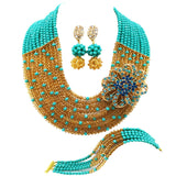 New! aqua blue champagne gold Crystal Beads Bridal Costume Jewelry set Nigerian wedding african beads jewelry sets -0W455