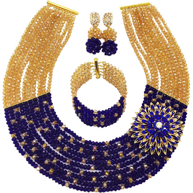 New! aqua blue champagne gold Crystal Beads Bridal Costume Jewelry set Nigerian wedding african beads jewelry sets AAC276