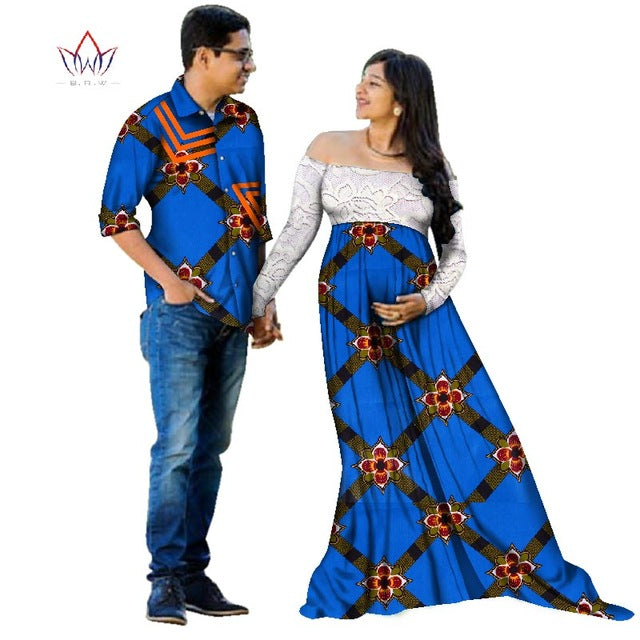 6c14fe92193 Spring African Dashiki for Pregnant women Spring Dress Bazin Riche Men  shirt Mermaid Party Vestidos Plus. Hover to zoom