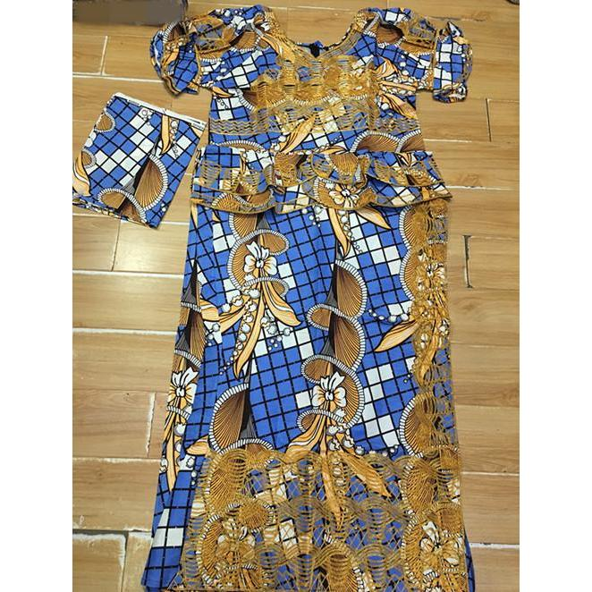 2017 African WAX/KITENGE DASHIKI make by cordding embroidery lady clothes, short top with wapper and scarf  3pcs/set has zipper