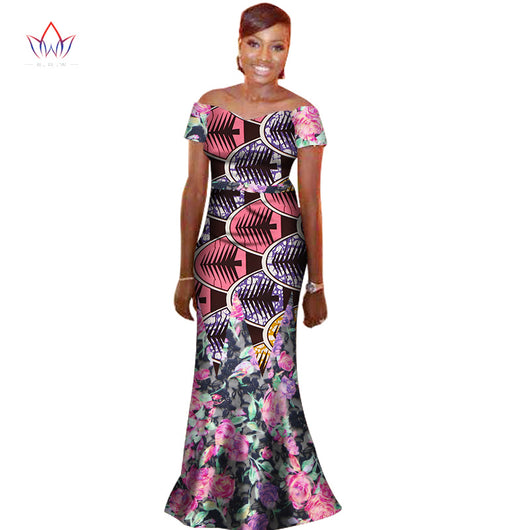 African Lace Fabric Print Long Dresses for Women, Bazin Riche PRINT V-neck Dress Dashiki African Clothes Lace-ZWM-78