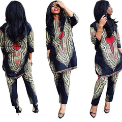 2 Piece Set Wide Leg Jumpsuit Autumn Vintage National Print Dashiki Half Sleeve Long 0wq12