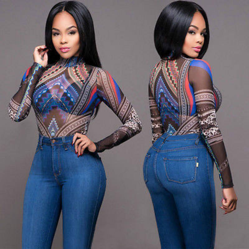 2017 Women's Ribbed Long Sleeve Print Jumpsuit Sheer See Through Bodycon Bodysuit Leotard Playsuit Outfit Tops Sunsuit Clubwear