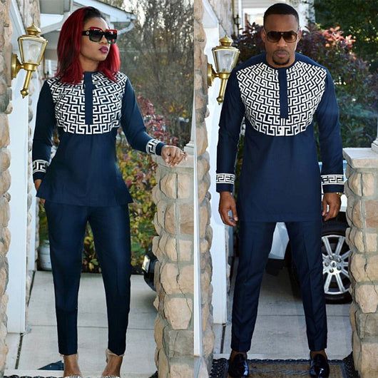 african lady and man same design soft material embroidery design top with pants LC088-1#