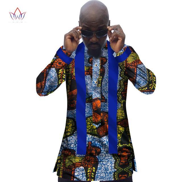 2017 New African Clothing African Men Shirts Dashiki Shirt Men Casual Style Print Cotton Long Sleeve Shirts Plus Size 6XL WYN307