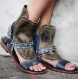 New Fashion Brown Leather Women Open Toe Flat Sandals Ankle Buckles Rome Style Ladies Fashion Sandals Shoes-0wz11
