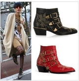 Newest Leather Rivets Booties Buckle Straps Thick Heels Black Ankle Boots Studded Motorcycle Boots