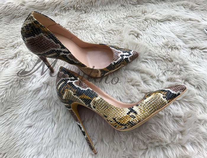 WOMEN winter hot sale serpentine printing pumps embossed leather slip on high heels 8 cm 10 cm 12 cm heel