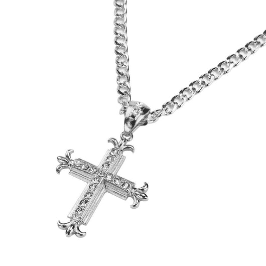 Sharp Sides Rhinestone Cross Pendant Hip-hop Cuban Necklace Chain