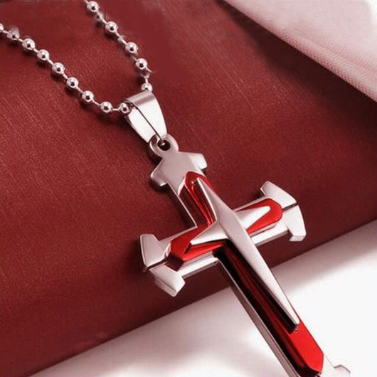 Unisex Men Stainless Steel Red Cross Pendant Necklace Chain