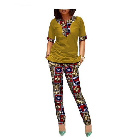 African Women customized half sleeve split top+ankle length Ankara print body-con pants sets