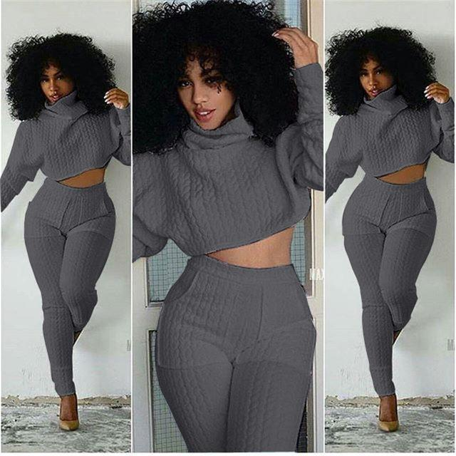 2 Piece Set Women's Turtleneck Long Sleeve Knitted Pullovers Tops + Long Pants with Pockets Pants Set
