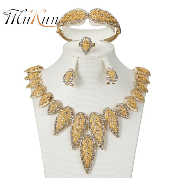 MUKUN Fashion Vintage Jewelry Sets Nigerian African Beads Women Bridal Wedding Dubai Statement Necklace Earrings Accessories