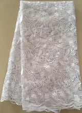High quality 5 YARDS French Net Lace Fabric, African Lace Fabric With Embroidery Mesh Tulle Lace Fabric,Nigerian Lace