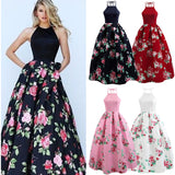 Sexy Women Floral Printed Long Dress Sleeveless Party Evening Beach Maxi Dress-owame1