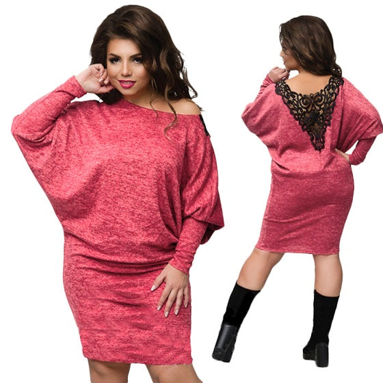 aaf414beaa19 2018 Winter dress plus size christmas party dress batwing sleeve knitted  bodycon lace dress sexy women. Hover to zoom