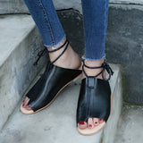 Women Flat-Bottomed Roman Sandals Open Ankle Flat Straps Platform Wedges Shoes-0WMQ89