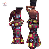 Two Piece Set african woman clothes Women Trumpet Sleeveless african dashiki casual cotton Set for Women floor-length WY2683