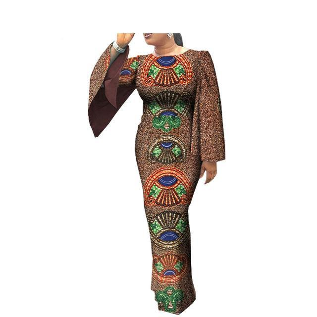 African clothes casual Women full cloak sleeve o-neck ankle-length women dress