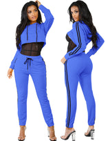 Sexy 2 Piece Set Hoodies Overalls Side Striped Print Hooded Crop Top Long Pant Skinny Catsuits Women Hollow Out Street Jumpsuit