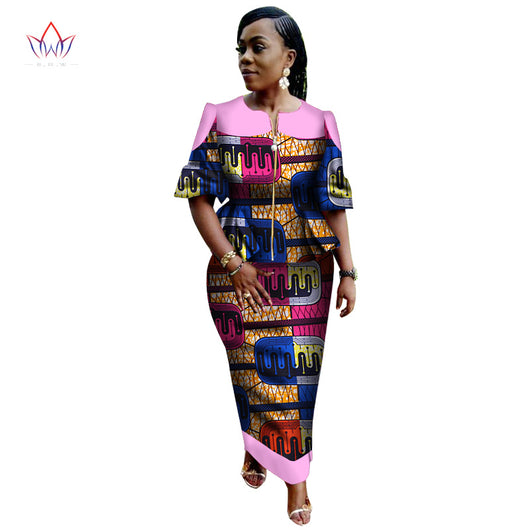African women two piece o-neck print Skirt set, African clothing plus size puff sleeve