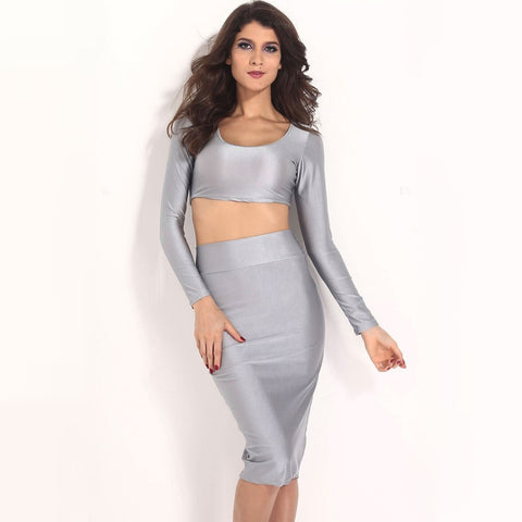 0cca61f0a0a ... Image of Sexy Women Two Pieces Long Sleeve Bodycon Crop Top Pencil Skirt  Dress Twin Set ...