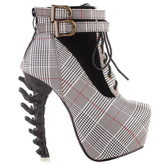 500a2bc6bc95 Punk Lace Up Buckle High-top Bone High Heel Platform Ankle Boots-WME-