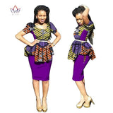 2 Pieces Women traditional african dress Plus Size Dashiki o-neck Skirt Set Clothing 5xl WY2683