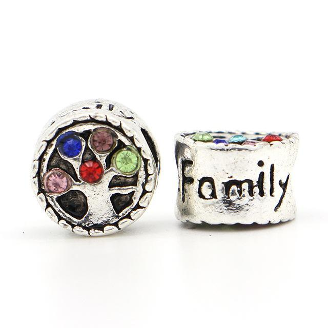 1Pc New Silver Plated Bead European Colorful Crystal Family Tree Love Bead Fit Pandora Bracelet & Necklace