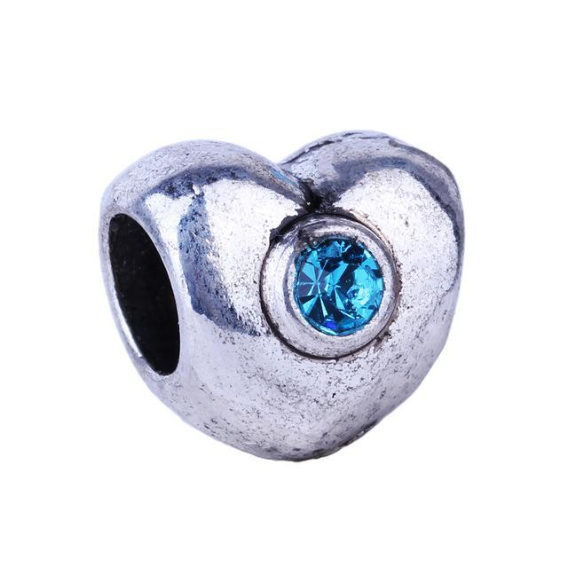 1Piece Blue Rhinestone Series Owl Rabbit Charms European Fashion DIY Beads Silver Alloy Bead Fit Pandora Bracelets & Necklace