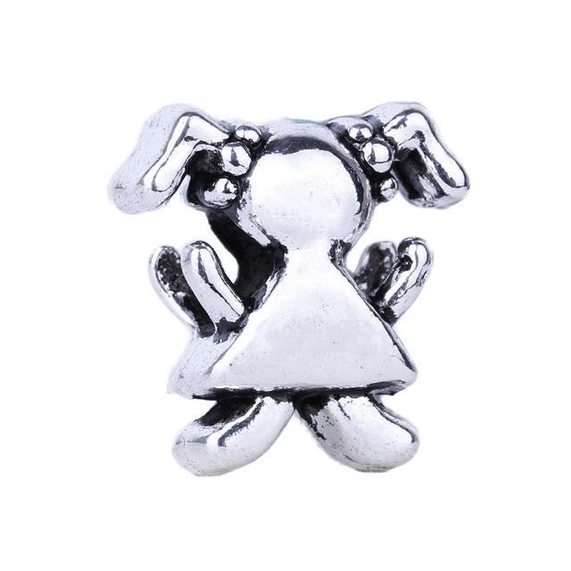 1pc Silver Bead Charm European Baby Carriage Boy Girl Clover Love Heart Bead Fit Pandora Bracelets & Necklace