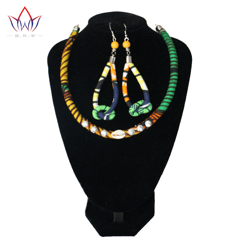 Afrocentric Ethnic Bohemian Choker Statement Necklace & Long Earrings Jewelry Sets for Women