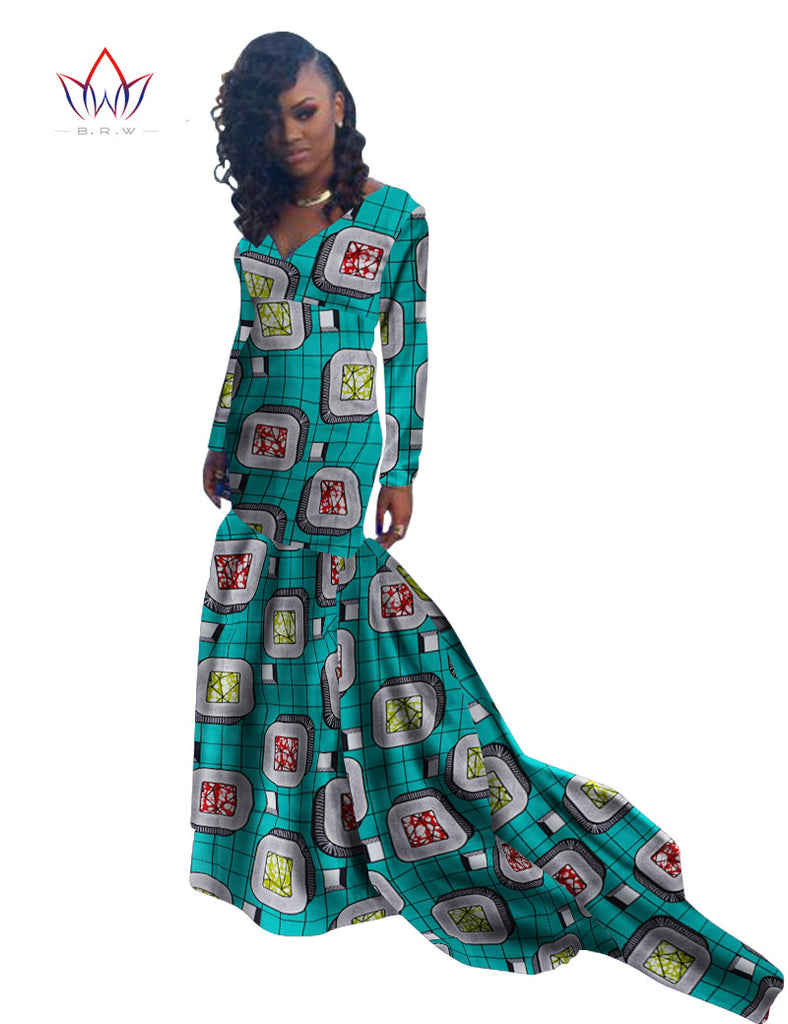 Mermaid African Dresses, African Prom wedding Long Sleeve Floor ...