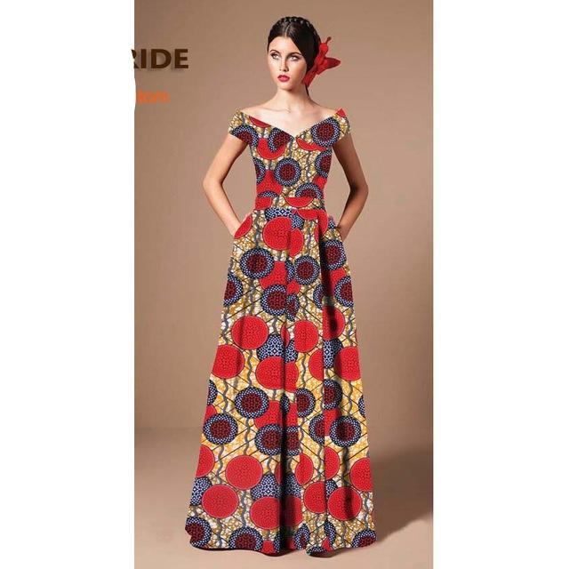 African Women dress for women, Ankara print cotton V-neck sleeveless formal maxi dress