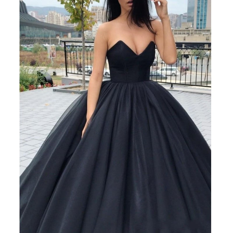 Gothic Black Puffy Ball Gowns 2018 Vintage Lush Simple Prom Gowns  Sweetheart Off Shoulder Plus Size Lace Up Formal Party Dress