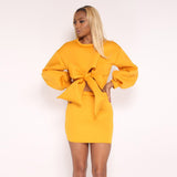 Autumn 2 Piece Clothes Set Women Hoodies Sweatshirts Crop Top Mini Skirt Suit Ladies Sexy Bowknot Pullover Two Piece Tracksuit -0wm34