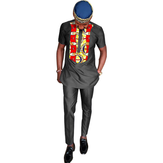 Tailor made african dashiki clothes men tshirt+pant sets long sleeve tops and long trouser black cotton patchwork design african tshirt