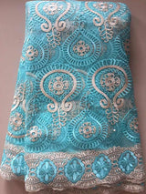 High quality 5 YARDS French Net Lace Fabric,African Lace Fabric With Embroidery Mesh Tulle Lace Fabric,Nigerian Lace