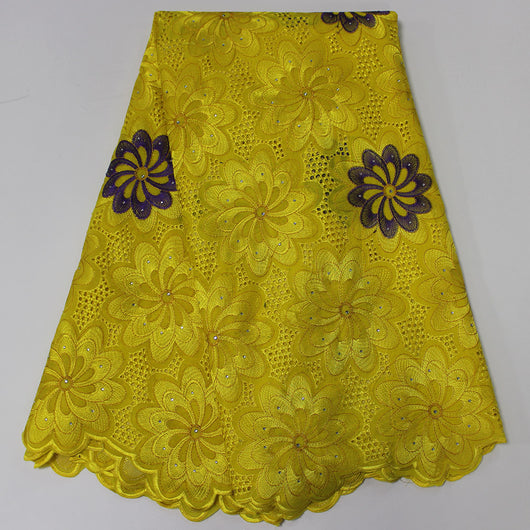High quality 5 YARDS African Swiss Voile Lace For Women Dress, Yellow Latest African Fabric With Stones