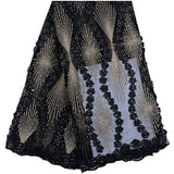 High quality 5 YARDS Black Color Nigerian Tulle Lace Fabric Fast Shipping African Lace Fabric For Wedding Embroidery French Lace Fabric With Stones