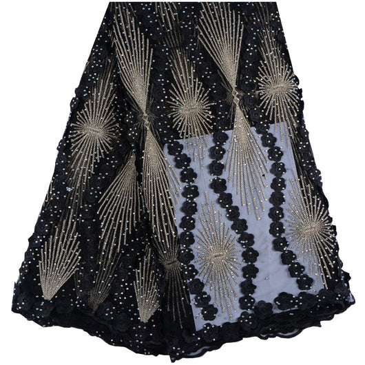 Black Color Nigerian Tulle Lace Fabric Fast Shipping African Lace Fabric For Wedding Embroidery French Lace Fabric With Stones-D1141