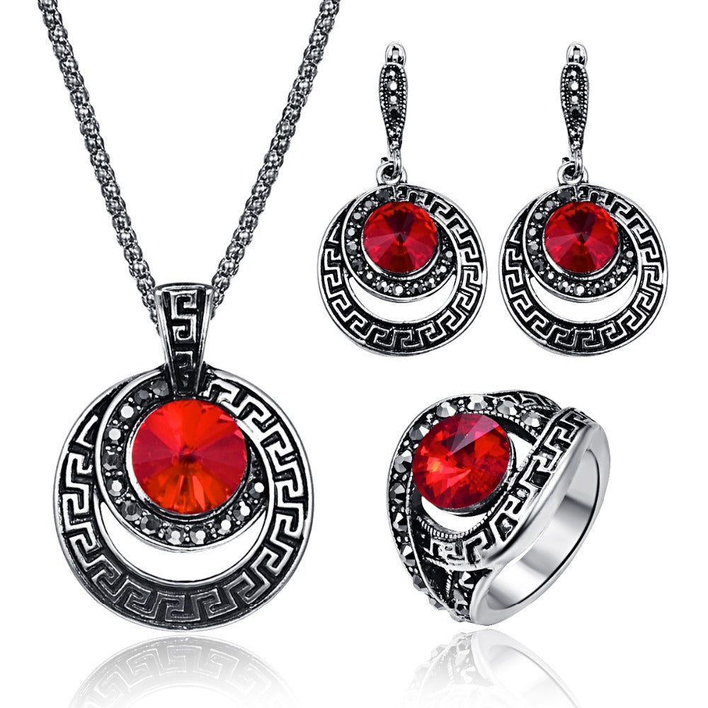 3pcsset vintage round crystal pendant jewelry sets for women 3pcsset vintage round crystal pendant jewelry sets for women geometry earring antique ring necklace mozeypictures Gallery
