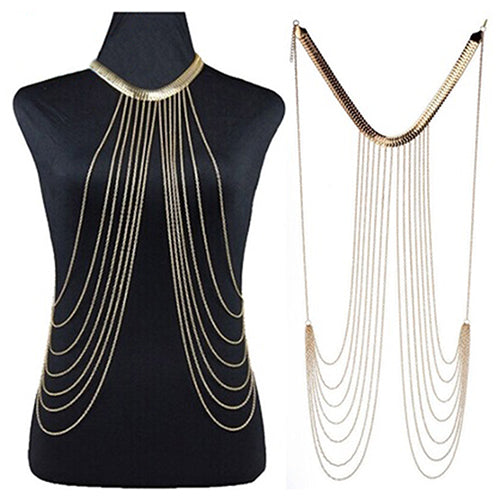 Women's Stylish Luxury Bikini Beach Golden Tassel Layered Body Chain Jewelry