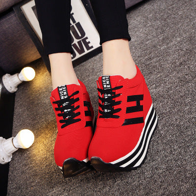 Trendy  Women Casual Platform Shoes High Heels Shoes Wedges Women Shoes trainers Loafers Height Increasing zapatos mujer