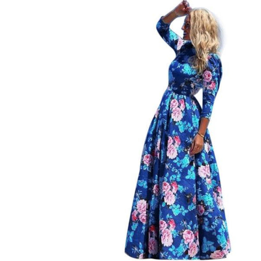 Hot Sale vestidos 2017 New Fashion Women Summer Dress Print Long Maxi Dresses Beach Dress Long Sleeve Bohemian Dress Sexy Plus